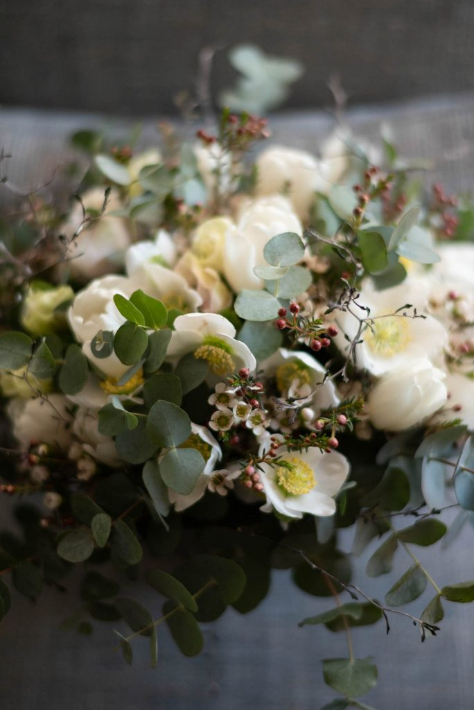 A closeup of a unique winter bridal bouquet, by luxury wedding photographer Francesco Bognin
